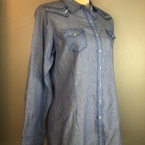 Ariat Blue Striped Fitted Shirt NEW L